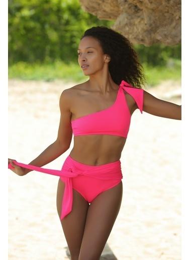 Deep Beach Yüksek Bel Bağlamalı Bikini Altı Pembe